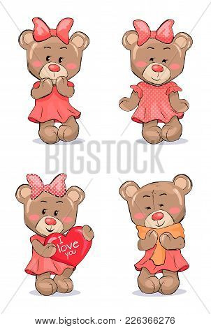 Cute Female Bear In Pink Dress With Bow On Head That Holds Big Red Heart And Wrapped In Scarf Isolat