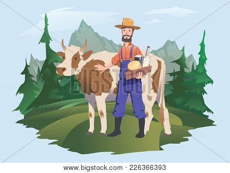 A Cow Farmer In A Meadow, Alpine Landscape. Vector Isolated Illustration For Packaging Of Milk Or Da