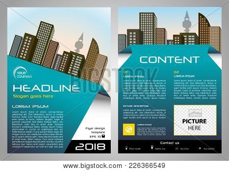 Vector Flyer, Corporate Business, Annual Report, Brochure Design And Cover Presentation With Blue El