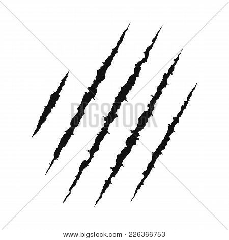 Claws Scratching Animal. Shredded Paper. Scratched Surface. Vector Illustration