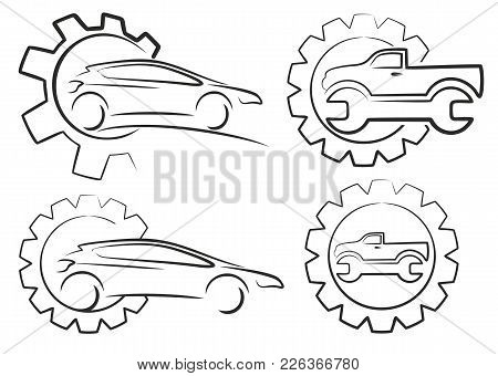 Set Of Car Service With Gear Wheel.
