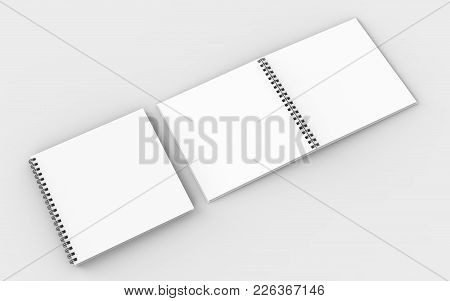 Square Spiral Binding Notebook Mock Up Isolated On Soft Gray Background. 3D Illustrating.