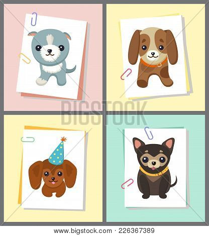 Dogs Stickers Collection, Sheets Of Paper With Images Of Pets Of Different Breed, Doggy With Celebra