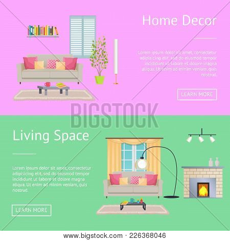Home Decor And Living Space, Posters With Compositions Consisting Of Sofa And Table With Cup, Booksh