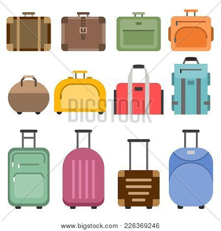 Handbags And Suitcases. Vector Pictures Set Isolate On White. Bag For Travel, Luggage With Handle Il