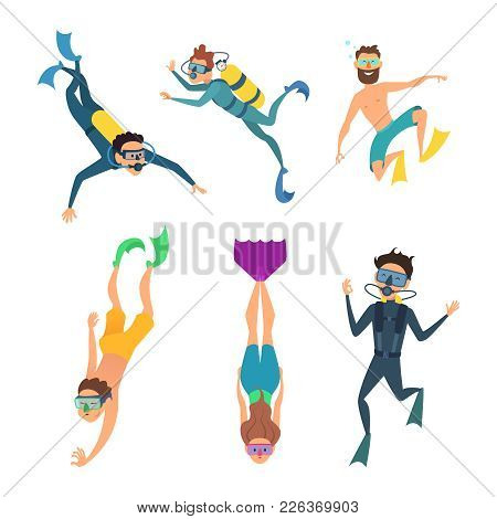 Set Of Cartoon Characters. Underwater Divers Man And Woman With Snorkel And Mask, Vector Illustratio