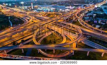 Aerial View Of A Unique City Roads And Interchanges, Bangkok Expressway Top View, Top View Over The