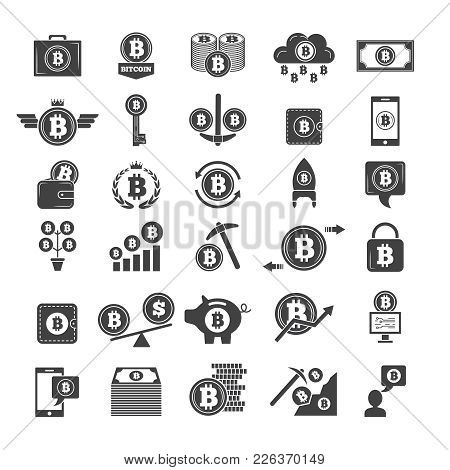 Monochrome Symbols Of Virtual Money. Electronic Blockchain Industry. Web Wallets And Other Icons Of