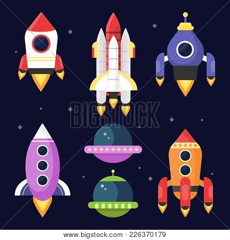 Illustrations Of Space With Shuttles. Vector Pictures Rocket And Shuttle Spaceship, Travel In Galaxy