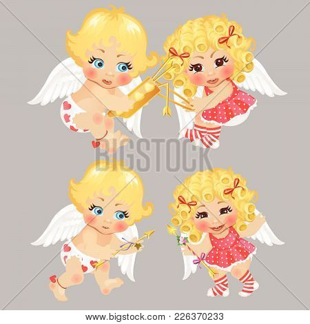 Four Baby Cupid. Vector Cute Funny Illustration.