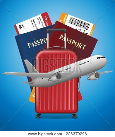 Business Trip Banner With Passport, Tickets, Airplane And Suitcase On Blue Background. International