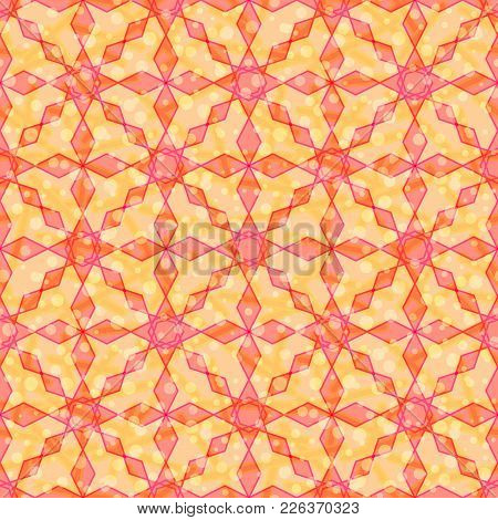 Abstract Seamless Background, Tile Pattern With Colorful Geometrical Figures. Eps10, Contains Transp
