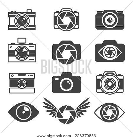 Monochrome Pictures Of Symbols For Photographers And Photo Studios. Camera Photo, Photography Lens E