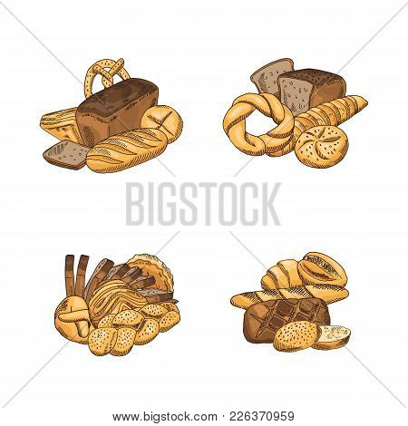 Vector Set Of Piles Of Hand Drawn Colored Bakery Elements Isolated On White Background. Bakery And B