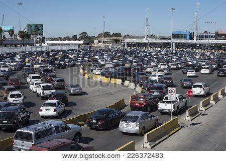 Tijuana, Mexico - February 8, 2018: The Busy Tijuana/san Ysidro Border Crossing Is Generally Jam Pac