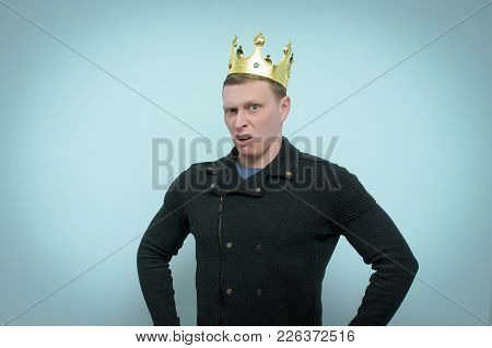 An Arrogant And Selfish Man With A Golden Crown Above His Head Scornfully Looks Forward Isolated On