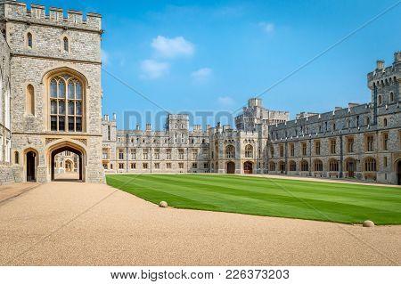 Windsor, United Kingdom - May 05, 2016 : View Of Upper Ward (quadrangle) In Medieval Windsor Castle.