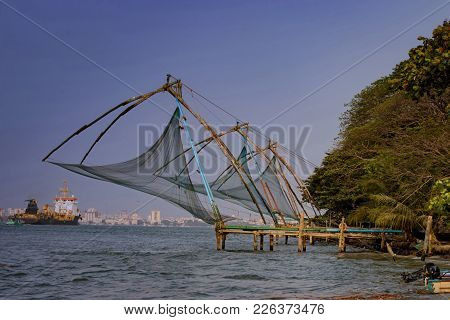 View Of Backwater Entrance With Chinese Nets Welcoming Ships To Cochin Port