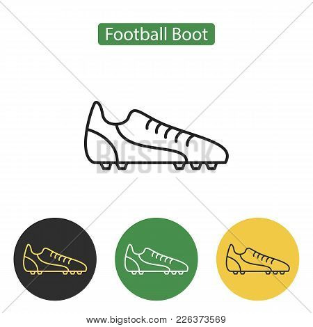 Soccer Boot Flat Line Icon On White Background. Crickets Boot Image. Sport Accessories Collection Fo