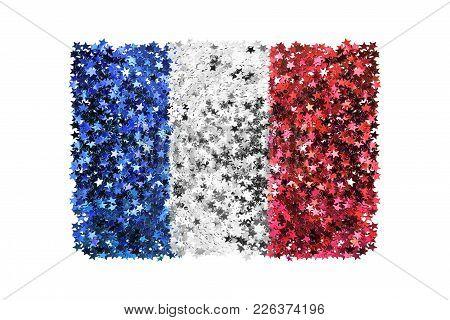 Metallic Stars Glitter In Colors Of France National Flag On White Background