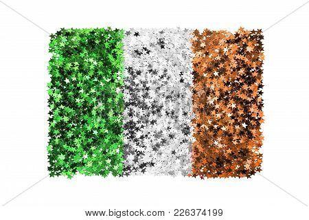 Metallic Stars Glitter In Colors Of Ireland National Flag On White Background