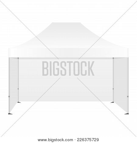 Promotional Canopy Tent With Three Walls Mockup Isolated On White Background - Front View. Vector Il