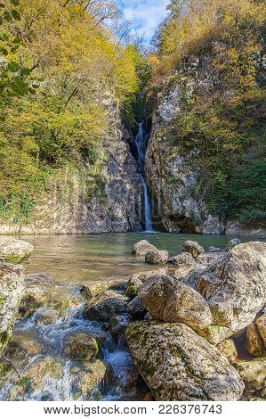 Waterfall On The River Agura. Sochi National Park. Russia.