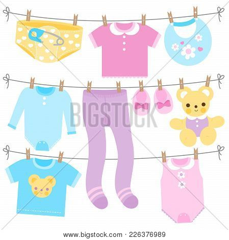 Baby Girl And Baby Boy Clothes Collection Hanging On Clothes Line. Vector Illustration