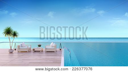 Varcetion Time , Wood Sofa On Sunbathing Deck And Private Swimming Pool With  Panoramic Sea View At