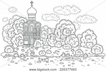 Old Church Among Trees On An Island, A Black And White Vector Illustration For A Coloring Book