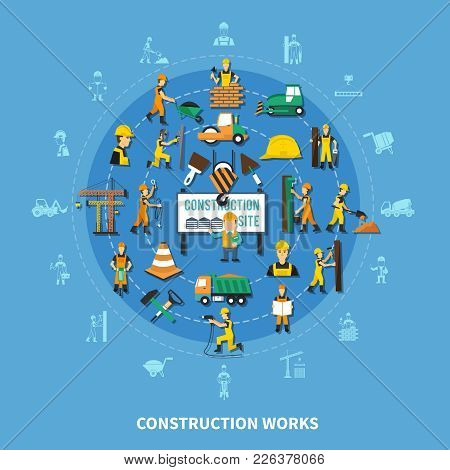 Construction Worker Colored Composition With Isolated Icon Set Combined In Big Flat Style Round Vect