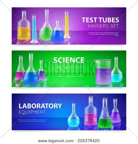 Realistic Test-tubes Retorts Scientific Chemical Laboratory Glassware Equipment 3 Horizontal Colorfu