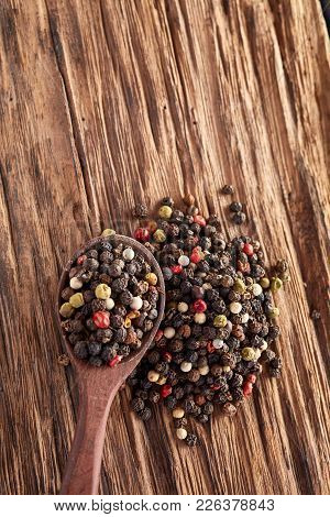 Mixed Peppercorns. Dry Mix Peppercorns Close Up