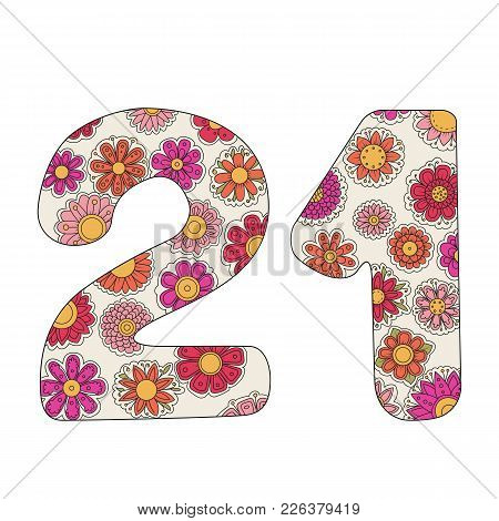 Zen Coloring Book For Adults Number Twenty-one. Figure 21 Tangle Pattern. Floral Ornament Vector Ill