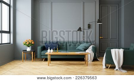 Vintage Modern  Interior Of Living Room, Green Sofa With Wall Lamp On Wood Flooring And Dark Gray Wa