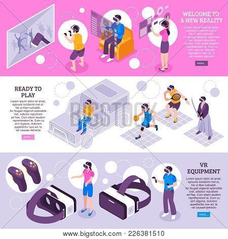 Virtual Reality Vr Simulators Portable Gadgets Headsets Displays Equipment 3 Isometric Horizontal Ba