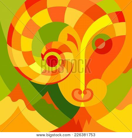 Surreal Illustration Of Animal. Vector Color Image In Abstract Art Style.