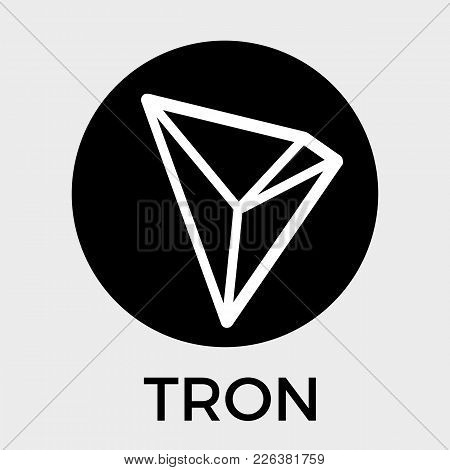 Tron (trx) Decentralized Blockchain In-app-purchases Payments Cryptocurrency Vector Dark Logo.