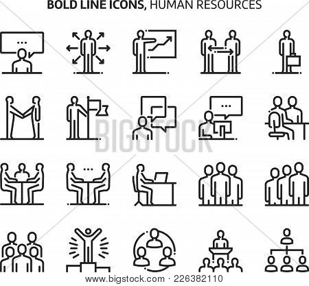 Human Resources, Bold Line Icons. The Illustrations Are A Vector, Editable Stroke, 48x48 Pixel Perfe