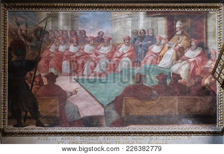 MANTUA, ITALY - JUNE 04: The Council of Mantua of 1459, fresco in Mantua Cathedral dedicated to Saint Peter, Mantua, Italy on June 04, 2017.