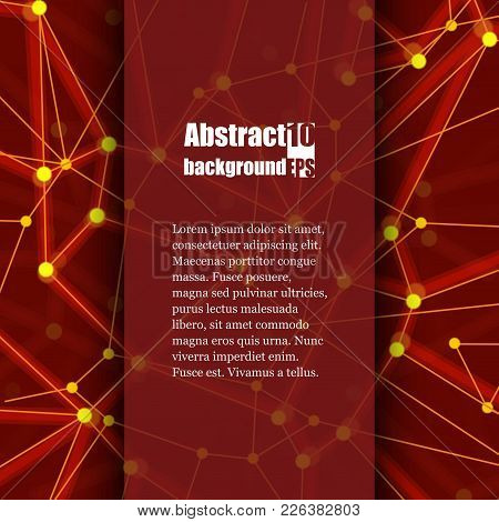 Geometric Abstract Background With Connected Line And Dots. Structure Molecule And Communication. Br