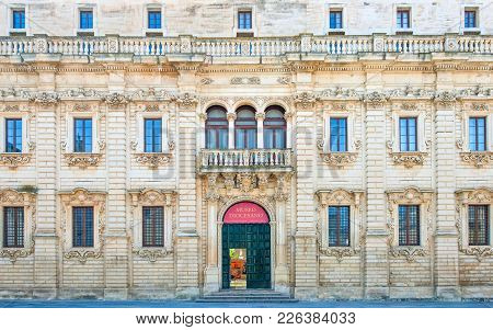 Lecce,  Italy - April 17, 2010: Duomo Square, The Seminary Facade And Entrance With The Words Dioces