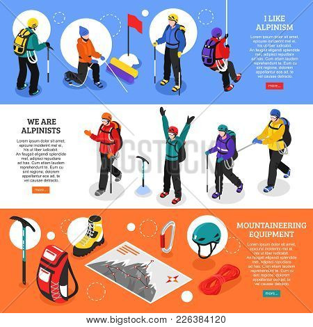 Alpinists Isometric Banners With Mountaineering Equipment And Climbers In Winter Uniform Used For Ex