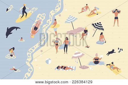 People At Beach Or Seashore Relaxing And Performing Leisure Outdoor Activities - Sunbathing, Reading