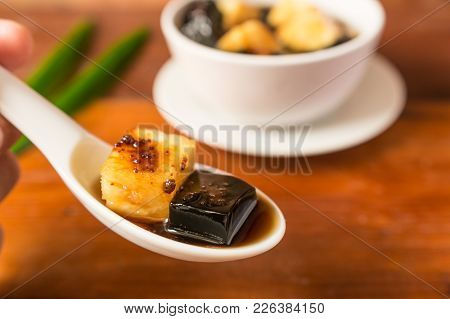 Close-up Of Pineapple And Grass Jelly
