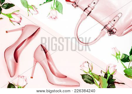 Pastel Pink Women High Heel Shoes And Bag On Pink Background. Flat Lay, Top View Trendy Fashion Femi