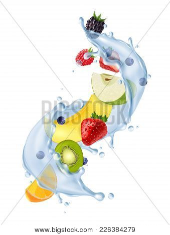 Realistic Water Splash In Air With Fresh Strawberries Citrus Kiwi Fruit Segments Refreshing Detox Dr