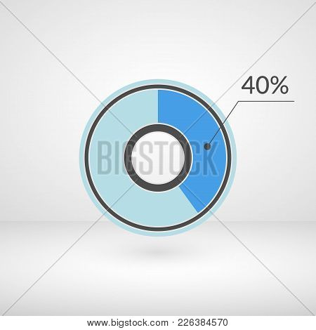 40 Percent Pie Chart Isolated Symbol. Percentage Vector Infographics. Circle Diagram Sign. Business