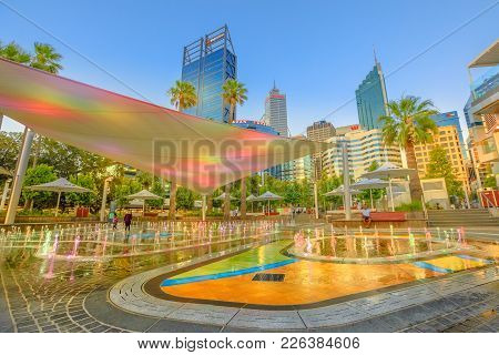 Perth, Australia - Jan 6, 2018: Amusing Water Jets, Misting, Lighting Of A New Attraction For Kids O