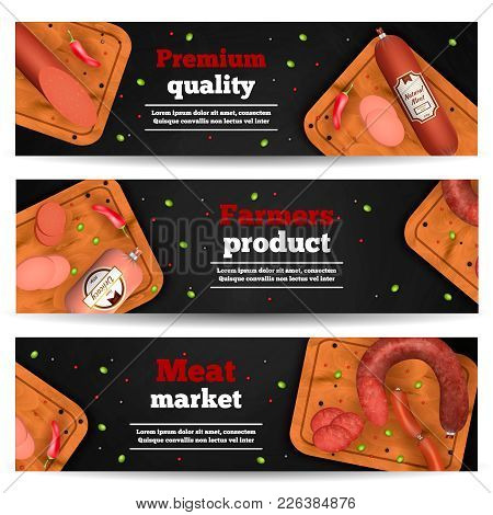 Meat Market Horizontal Banners With Realistic Icons Advertising Premium Quality Farmers Product Vect